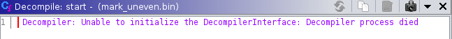 The decompiler shows an error
